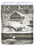 Lobster Boat After Snowstorm in Tenants Harbor Maine Duvet Cover by Keith Webber Jr