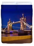 London Tower Bridge By Night Duvet Cover by Melanie Viola