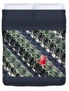 Lone Red Number 21 Fenway Park Duvet Cover by Susan Candelario