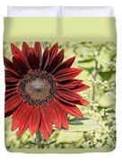 Lone Red Sunflower Duvet Cover by Kerri Mortenson