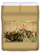 Longhorn Round Up Duvet Cover by Steven Bateson