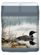 Loons Misty Shore Duvet Cover by James Williamson