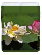 Lotus Pink -- Lotus White And Gold Duvet Cover by Byron Varvarigos