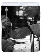 Lotuses in the Pond I. Black and White Duvet Cover by Jenny Rainbow