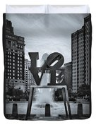 Love Park Bw Duvet Cover by Susan Candelario