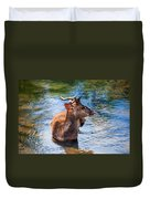Lovely Time In Water.  Male Deer In The Pampelmousse Botanical Garden. Mauritius Duvet Cover by Jenny Rainbow