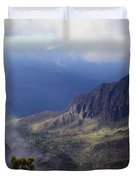 Low Clouds Over A Na Pali Coast Valley Duvet Cover by Stuart Litoff