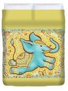 Lucky Elephant Turquoise Duvet Cover by Judith Grzimek