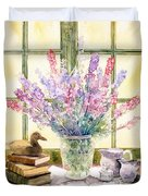 Lupins On Windowsill Duvet Cover by Julia Rowntree