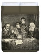 Luther Melancthon Pomeranus And Cruciger Translating  Duvet Cover by English School