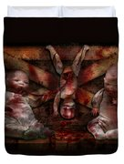 Macabre - Dolls - Having A Friend For Dinner Duvet Cover by Mike Savad