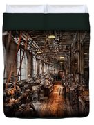 Machinist - A Fully Functioning Machine Shop  Duvet Cover by Mike Savad