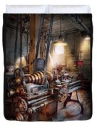 Machinist - Fire Department Lathe Duvet Cover by Mike Savad
