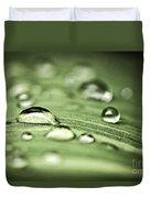 Macro Raindrops On Green Leaf Duvet Cover by Elena Elisseeva