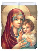 Madonna And Sitting Baby Jesus Duvet Cover by Zorina Baldescu