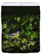 Magnolia Warbler Duvet Cover by Christina Rollo