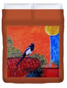 Magpie Singing At The Bath Duvet Cover by Xueling Zou