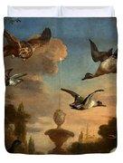 Mallard Golden Eagle Wild Fowl in Flight Duvet Cover by Melchior de Hondecoeter