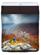 Man And The Mountain Duvet Cover by Evgeni Dinev
