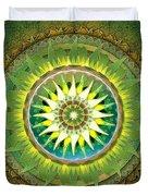 Mandala Green Duvet Cover by Bedros Awak
