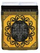 Mandala Obsidian Cross Duvet Cover by Bedros Awak