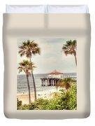 Manhattan Beach Pier Duvet Cover by Juli Scalzi
