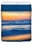 Manhattan Beach Sunset Duvet Cover by Inge Johnsson