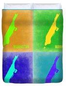 Manhattan Pop Art Map 2 Duvet Cover by Naxart Studio