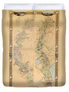 Map Depicting Plantations On The Mississippi River From Natchez To New Orleans Duvet Cover by American School