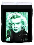 Marilyn Monroe - Green Duvet Cover by Absinthe Art By Michelle LeAnn Scott