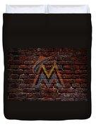 Marlins Baseball Graffiti On Brick  Duvet Cover by Movie Poster Prints