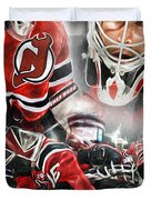 Martin Brodeur Collage Duvet Cover by Mike Oulton