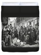 Martin Luther 1483 1546 Publicly Burning The Pope's Bull In 1521  Duvet Cover by English School