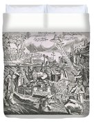 Martin Luther 1483 1546 Writing On The Church Door At Wittenberg In 1517  Duvet Cover by Swiss School
