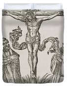 Martin Luther and Frederick III of Saxony kneeling before Christ on the Cross Duvet Cover by German School