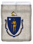 Massachusetts State Flag Duvet Cover by Pixel Chimp
