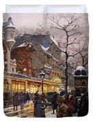 Matinee au Moulin Rouge Paris Duvet Cover by Eugene Galien-Laloue