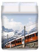 Matterhorn Railway Zermatt Switzerland Duvet Cover by Matteo Colombo