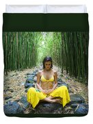 Meditation in Bamboo Forest Duvet Cover by M Swiet Productions