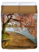 Meet Me At Our Bench Duvet Cover by Lois Bryan