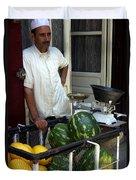 Melon Seller Old Medina Fez Morocco Duvet Cover by Ralph A  Ledergerber-Photography