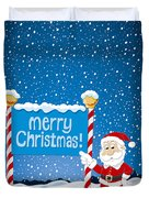 Merry Christmas Sign Santa Claus Winter Landscape Duvet Cover by Frank Ramspott
