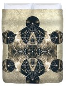 Metatron's Cube Silver Duvet Cover by Filippo B