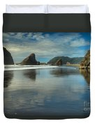 Meyers Creek Sea Stack Blues Duvet Cover by Adam Jewell