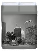 Miami Cityscape  Bw Duvet Cover by Rudy Umans