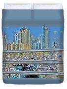 Miami Marina Duvet Cover by Claudia Mottram