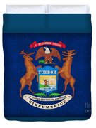 Michigan State Flag Duvet Cover by Pixel Chimp