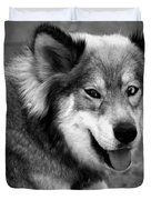 Miley The Husky With Blue and Brown Eyes - Black and White Duvet Cover by Michael Braham