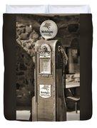 Mobilgas Special - Wayne Pump - Sepia Duvet Cover by Mike McGlothlen