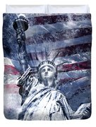 Modern Art Statue Of Liberty Blue Duvet Cover by Melanie Viola